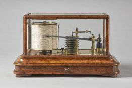 An Edwardian oak cased barograph Signed Pillischer, London,