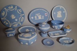 A group of Wedgwood blue jasper, 20th century, comprising; a bicentenary commemorative plate,