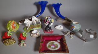 Ceramics, including; a pair of 20th century blue glass cornucopia vases with bronze hand terminals,