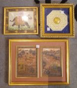 A group of four miniature Indian pictures, including; two framed as one depicting a tiger hunt.