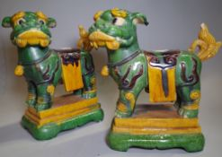 A pair of 20th century Chinese dogs of Fo 35cm wide x 40cm high and a gilt and a giltwood figure of