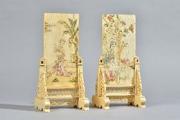 A pair of Chinese ivory table screens and stands, Qing dynasty,
