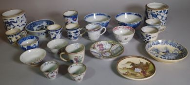 Asian ceramics, a quantity of 19th century and later cups, tea bowls and sundry, (qty).