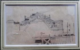 William Lionel Wyllie (1851-1931), Clarence Pier, Portsmouth, pencil, 7cm x 11.5cm.