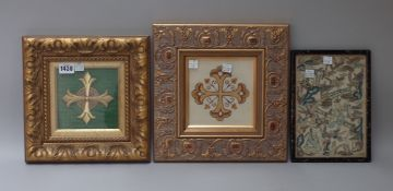 Two gilt framed ecclesiastical panels of a cross, 26cm wide x 26cm high and 28cm wide x 27cm high,
