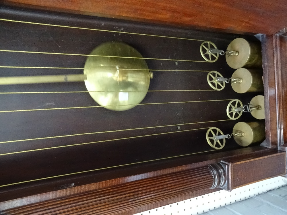Lot 646 - A fine and rare mahogany and crossbanded four train quarter chiming and musical longcase clock By