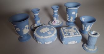 A group of Wedgwood blue jasper, 20th century, mostly sprigged with classical figures,
