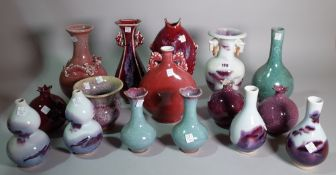 Asian ceramics, a quantity of mostly 20th century bottle neck vases, the largest 25cm high, (qty).