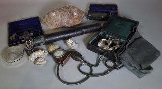 Collectables, including; a fossilized elephant tooth, brass two drawer telescope,