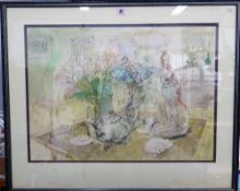Christopher Clairmonte (1932-2012), Still life, pen, ink and watercolour, signed and dated '88, 47.
