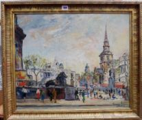 George Hahn (20th century), Trafalgar Square, oil on canvas, signed, 49cm x 60cm.