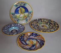 A group of four Deruta dishes, 20th century, in Renaissance maiolica style,