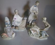 Ceramics; Lladro, four large figure groups, including chemist with pestle and mortar, etc.