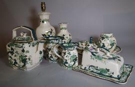 A Masons part tea service, including; a tea pot, jugs, plates and sundry, (qty).