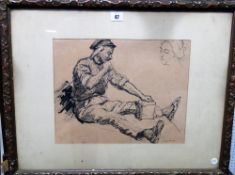 M Fabian (early 20th century), The Stone Mason, pen and ink, signed and dated 1913, 28.5cm x 35.