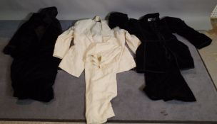 A quantity of ladies vintage clothing, comprising; John Bates leather two piece ,