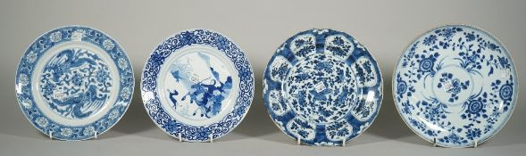 Four Chinese blue and white plates, 18th century, one painted with a hunting scene,