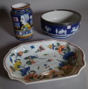An Italian tin-glazed earthenware albarello, 20th century, in Renaissance style,