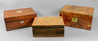 A Victorian walnut brass bound writing b