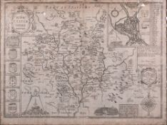 An engraved map, Worcestershire, describ