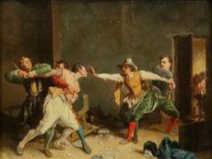 After Jean-Louis Ernest Meissonier, La Rixe (The Brawl), oil on canvas, 25.5 x 34cm.