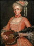 European School, 17th/18th Century, A portrait of a lady playing a mandolin, oil on canvas,