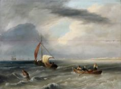 Follower of Joseph Stannard (British, 1797-1830), Shipping off the coast, oil on panel, 42 x 57cm.