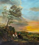 European School, 19th Century, Figures on horses in an extensive landscape, with a village beyond,