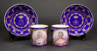 A pair of Sevres style coffee cans and saucers, each painted with a bust portrait of Mme.