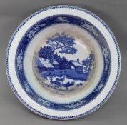 A Wedgwood Fallow Deer blue transfer printed circular bowl, 40cm diameter.
