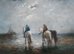 European School, late 19th/early 20th Century, Figures on horseback on the coast, gouache, 19x 25cm.