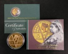 Elizabeth II 2001 Gold Proof Victorian Anniversary Crown Five Pounds, 39.94gms, with certification.