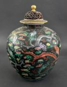 A Chinese famille noire oviform vase, 19th century,