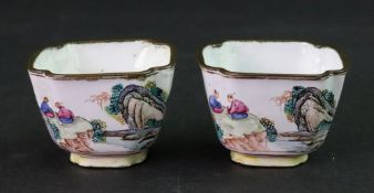A pair of Canton enamel small cups, 19th century,
