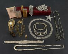 A collection of jewellery and accessories, including a single strand cultured pearl necklace,