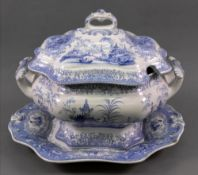 A Beauties china blue and white soup tureen, cover and stand, 19th century,
