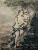 European School, 18th Century, A woman with a cherub in a landscape, pastel and chalk, 55 x 43cm.