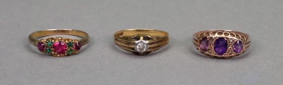 A platinum and 18ct gold single stone diamond ring,