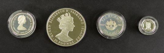 1986 Falkland Islands silver £25 coin, 1977 Falkland Islands silver fifty pence,