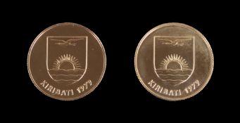 1979 Kiribati gold 150 dollars x 2, 32g, cased. Illustrated.