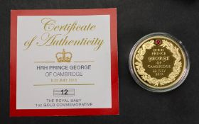 H.R.H. Prince George of Cambridge 1oz gold Commemorative, 34gms, with certification.