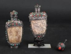 Two Chinese ivory snuff bottles, with white metal and 'jewelled' mounts, late 19th/20th century,