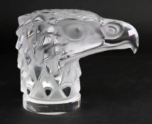 Lalique; a frosted glass Tete D'Aigle (Eagle Head) car mascot, detailed 'Lalique France' to base,