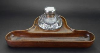A large Victorian silver mounted circular glass inkwell, John Grinsell & Sons, Birmingham 1890,