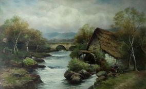 Walter Graham (British, 19th Century), A watermill with figures by a river,