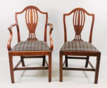 A set of six George III style Hepplewhite design mahogany dining chairs, 19th century,