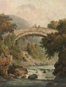 John William Upham (British, 1772-1828), Mallwyd Bridge on the Dovey, North Wales, signed,