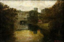 H Abeelen (British, 19th Century), A view of Warwick Castle across the river Avon,