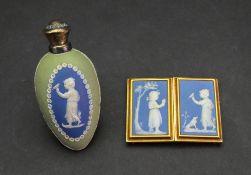 A Wedgwood style blue and green jasper dip perfume bottle, third quarter 19th century,