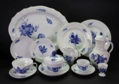 A Royal Copenhagen blue and white part breakfast, tea, coffee and dinner service,